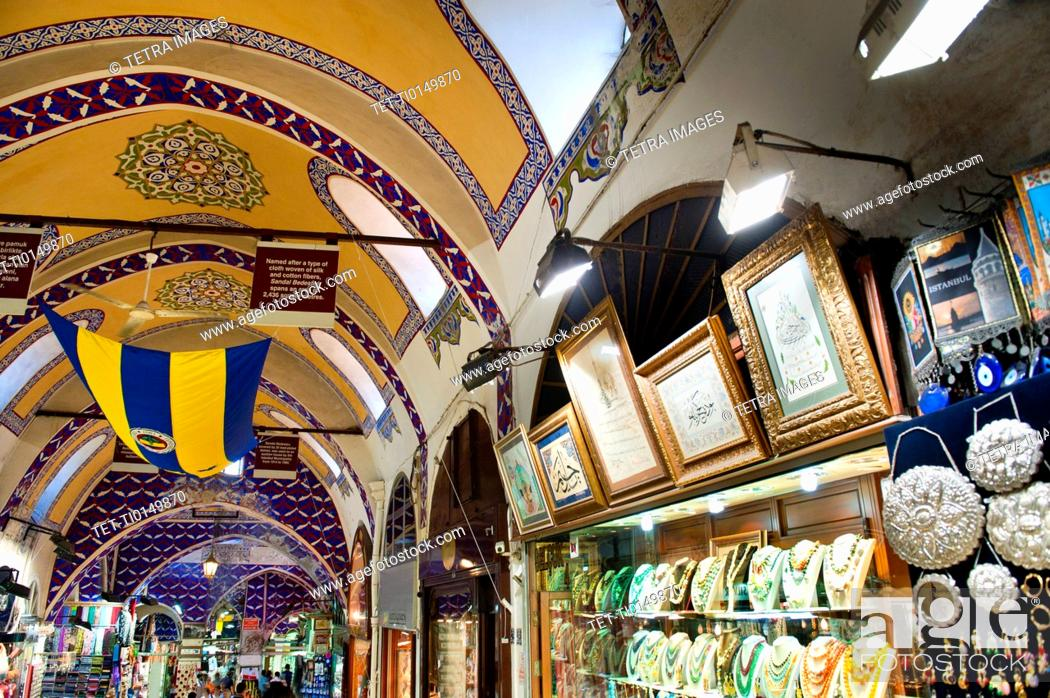 Stock Photo: Turkey, Istanbul, Grand Bazaar interior.