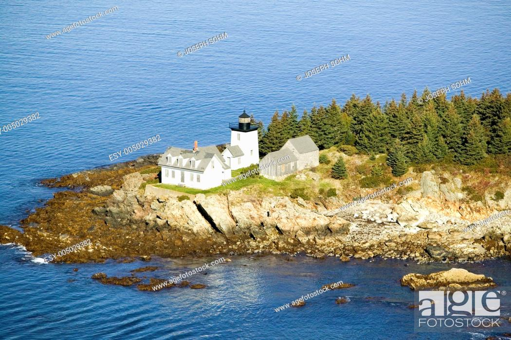 Stock Photo: Aerial view of Indian Island Lighthouse in Rockport, Maine.