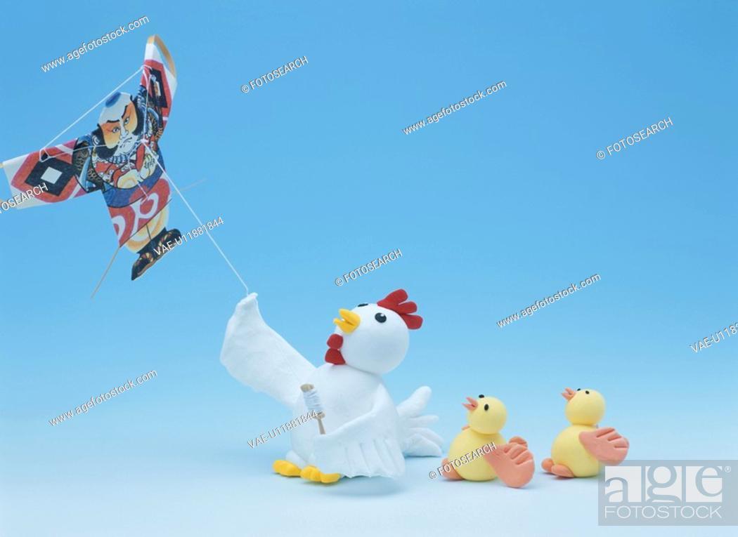 Stock Photo: Flying A Kite.