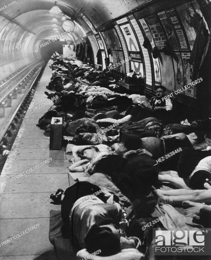 Stock Photo: 'Those who went to shelters began a new kind of night-life, 11th November, 1940', 1942. Artist: Unknown.