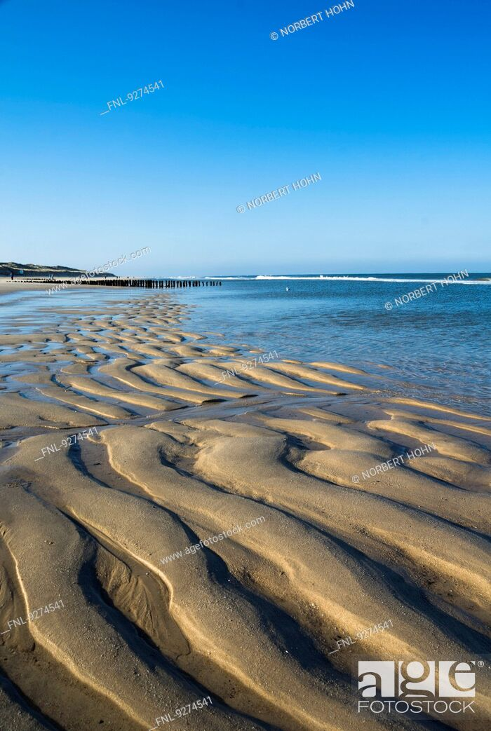 Stock Photo: Low tide at the West Coast of Sylt near Westerland, Germany.