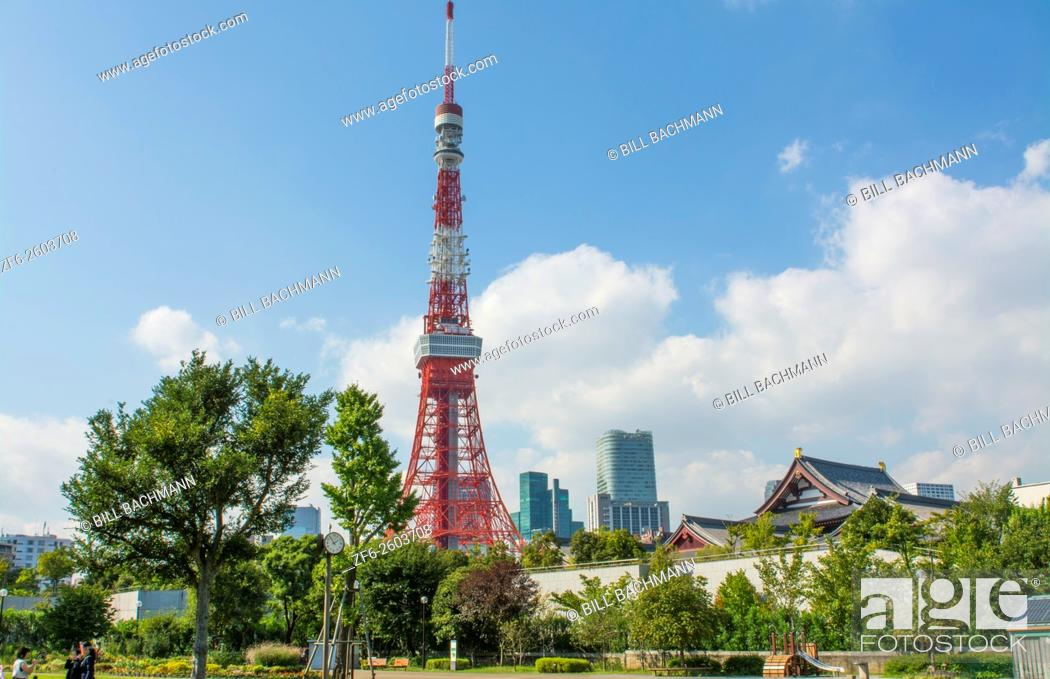 Stock Photo: Tokyo Japan scenic of Tokyo Tower and the Zojo-ji Temple in Shiba neighborhood in downtown city view.