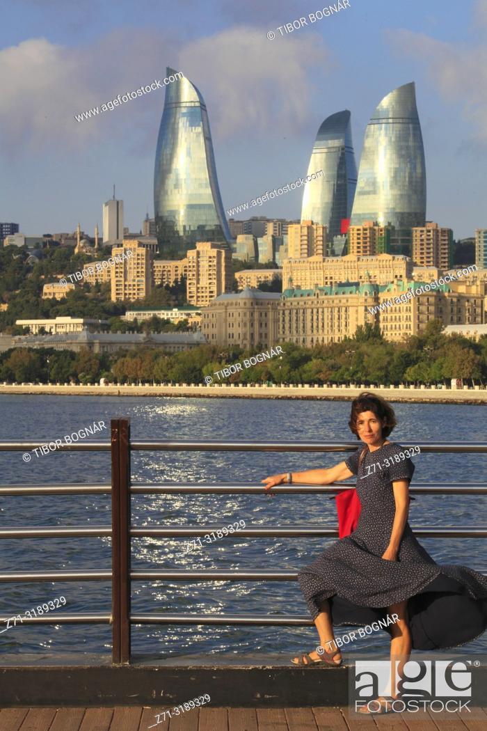 Stock Photo: Azerbaijan, Baku, skyline, Flame Towers,.