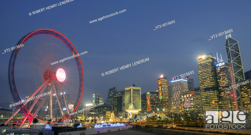Stock Photo: The new Observation Wheel in central financial district, Hong Kong, China.