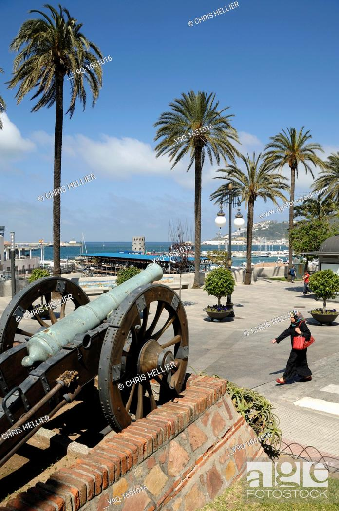 Stock Photo: Cannon Seafront Port and Harbour Ceuta Spain.