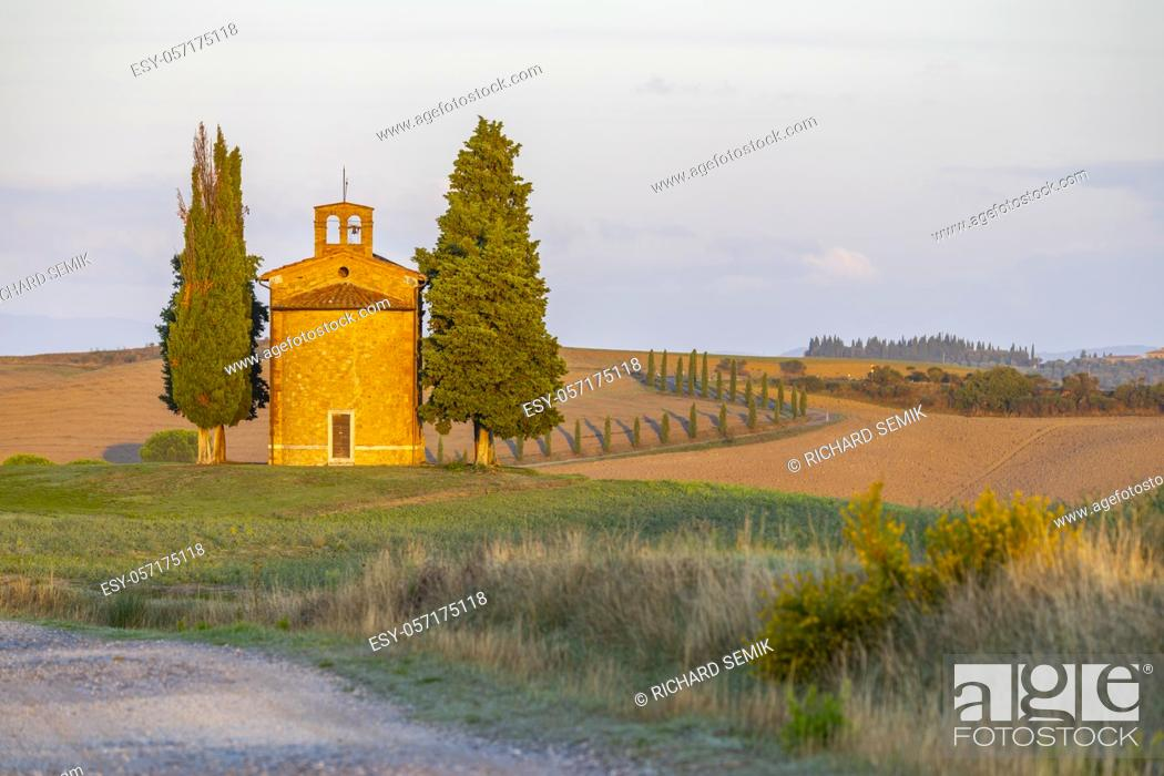 Stock Photo: Chapel of the Madonna di Vitaleta, San Quirico d Orcia, Tuscany, Italy.