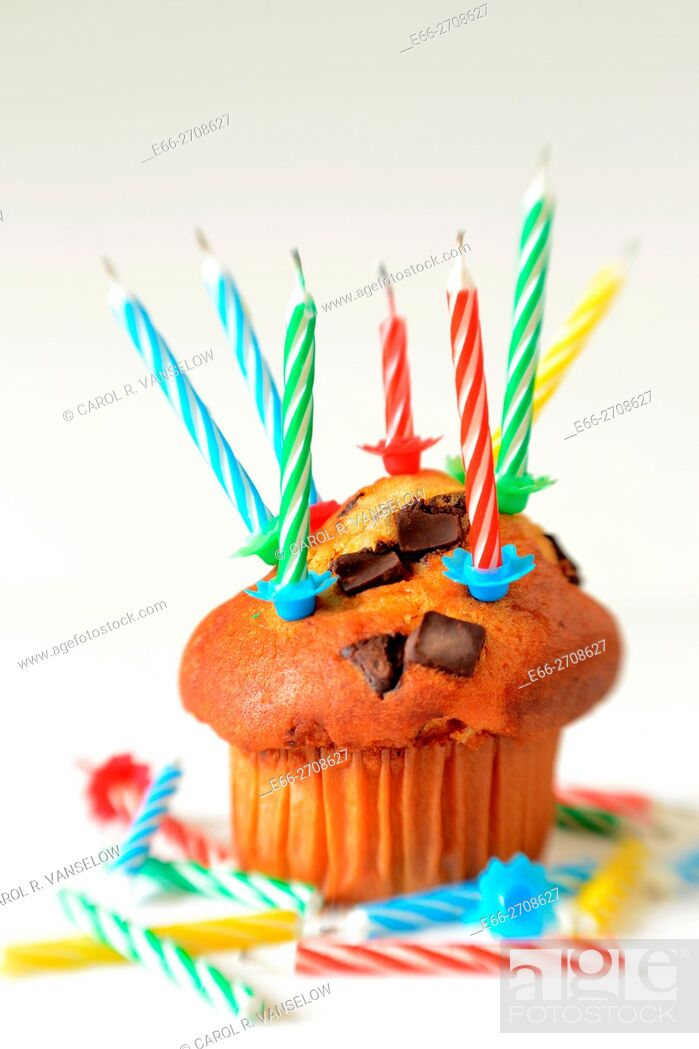 Stock Photo: Cupcake with a lot of candles.