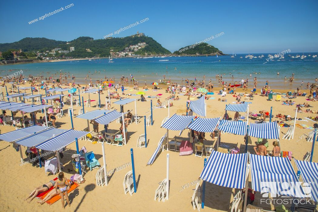 Stock Photo: La Concha beach. San Sebastian, Spain.