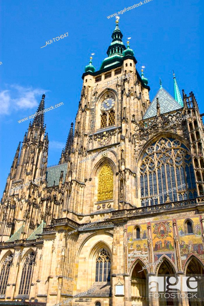 Stock Photo: Czech Republic - Prague - Mala Strana Prague 1 District - The Palace - Saint-Guy Cathedral.