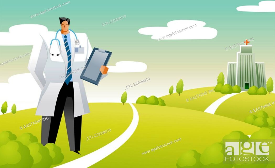 Stock Photo: Male doctor holding a clipboard and standing in front of a hospital.
