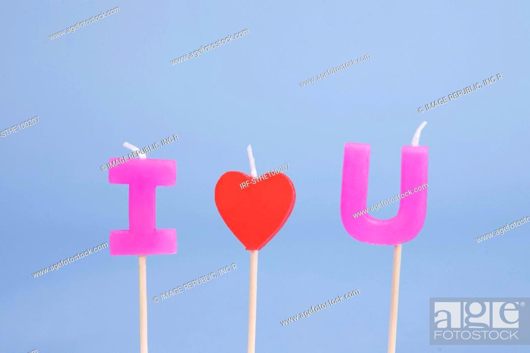 Stock Photo: I love U candle.