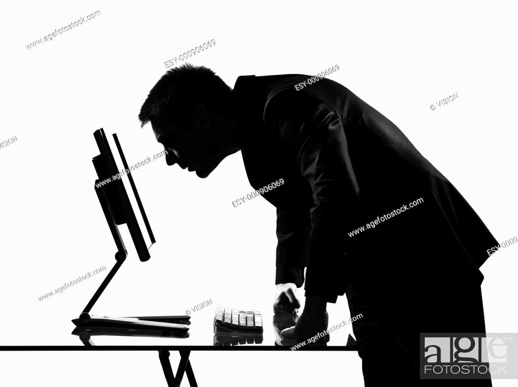 Stock Photo: silhouette caucasian business man computing expressing behavior full length on studio isolated white background.