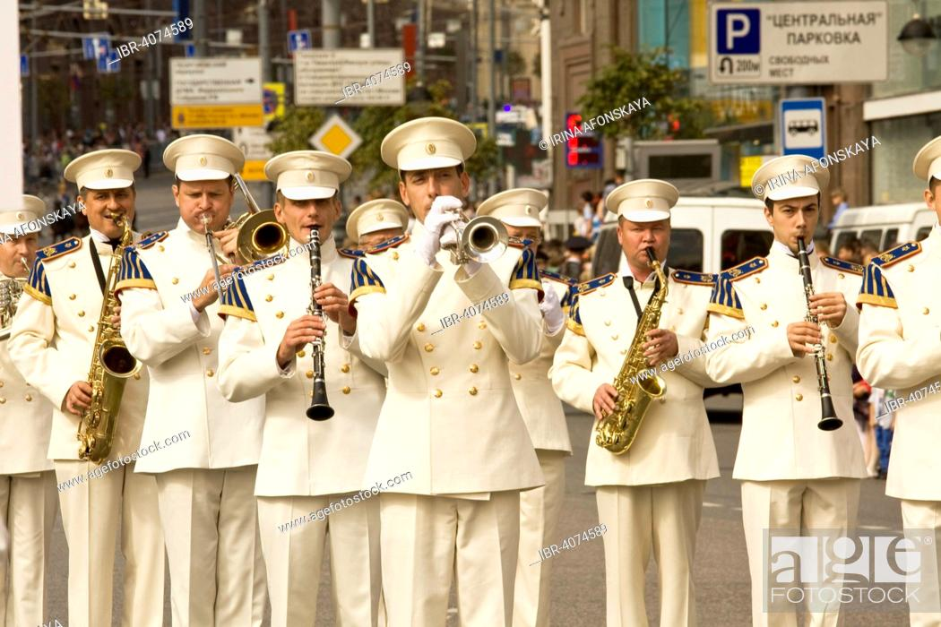 """Stock Photo: International Military Music Festival """"Spasskaya Tower"""", Presidential Orchestra of Moscow Kremlin, Moscow, Russia."""