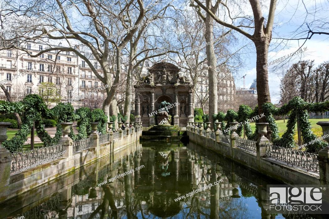 stock photo the medici fountain in the le jardin du luxembourg paris france - Le Jardin Du Luxembourg