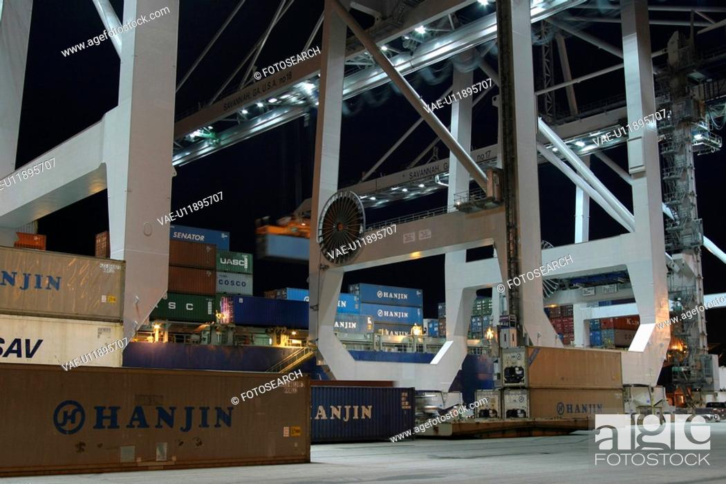 Stock Photo: harbor, cargo, storage, containers, goods, order.
