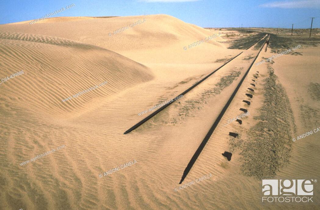 Stock Photo: Railway abandoned between Luderitz and Kolmanskop. Namib Desert. Namibia.