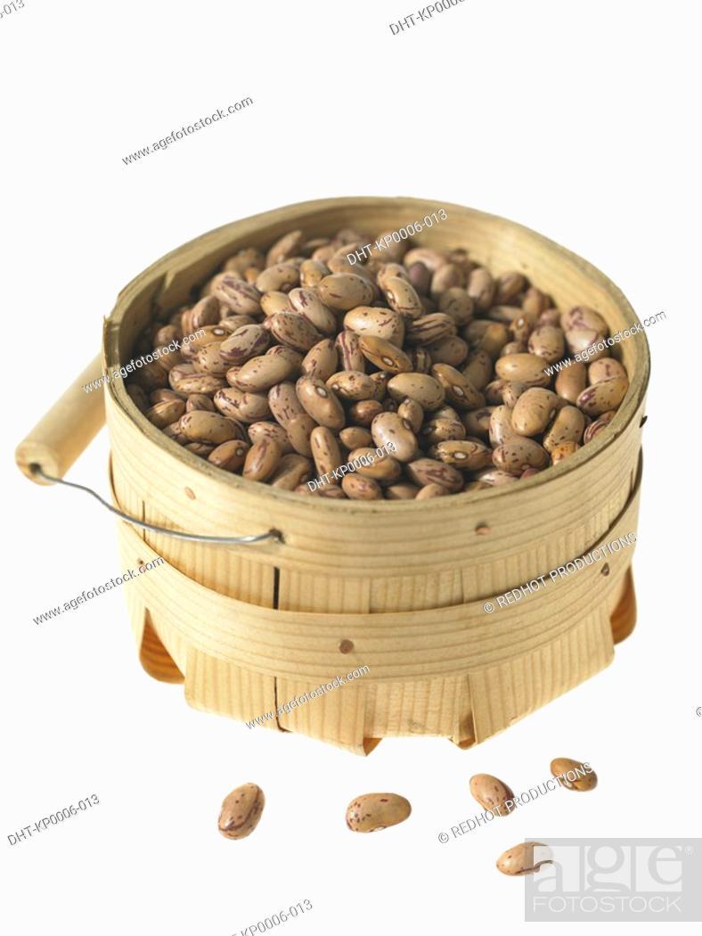 Stock Photo: Basket of Borlotti Beans.