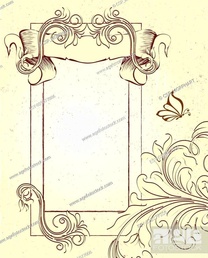 Vintage Invitation Card With Ornate Elegant Retro Abstract