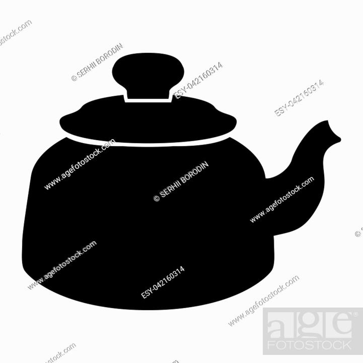 Stock Vector: Teapot it is black color icon .
