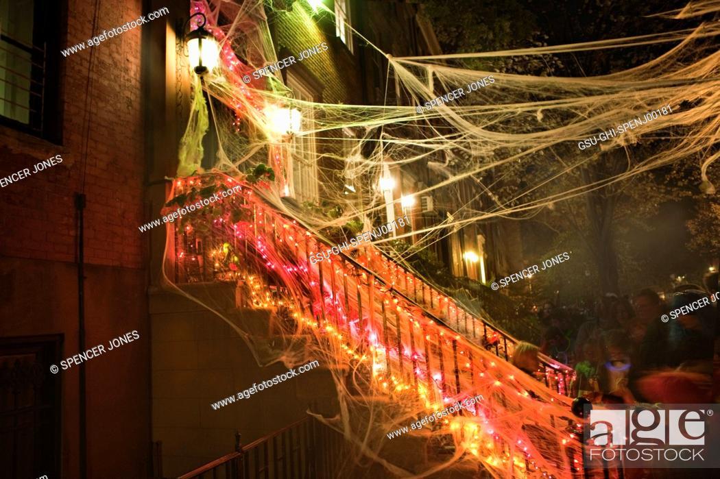 Stock Photo: Sitting on Stoop Halloween Night, New York City, USA.