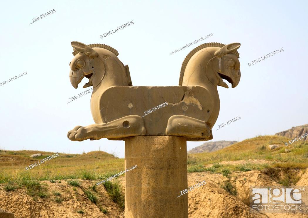 Stock Photo: Iran, Fars Province, Persepolis, achaemenid griffin.