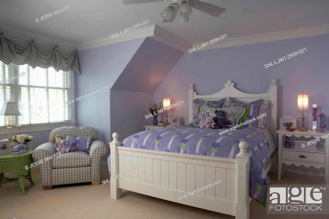 Stock Photo Childrens Bedrooms Child S Bedroom With White Painted Furniture Upholstered Chair Green Wicker Table Lavender Walls Ceiling Fan