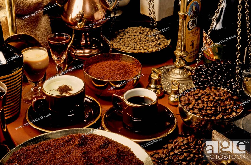 Stock Photo: A variety of speciality coffees, coffee powder and coffee beans.