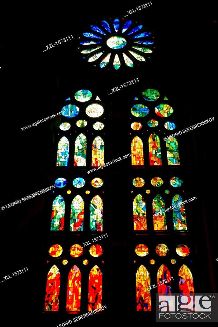 Stock Photo: Stained glass windows  Sagrada Familia church, or Expiatory Church of the Holy Family, Barcelona, Catalonia, Spain.