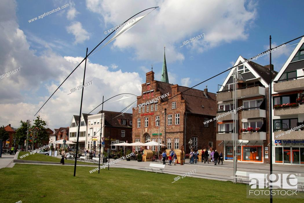 Stock Photo: Alte Vogtei building and row of houses, Baltic Sea spa resort of Travemuende, Bay of Luebeck, Schleswig-Holstein, Germany, Europe, PublicGround.