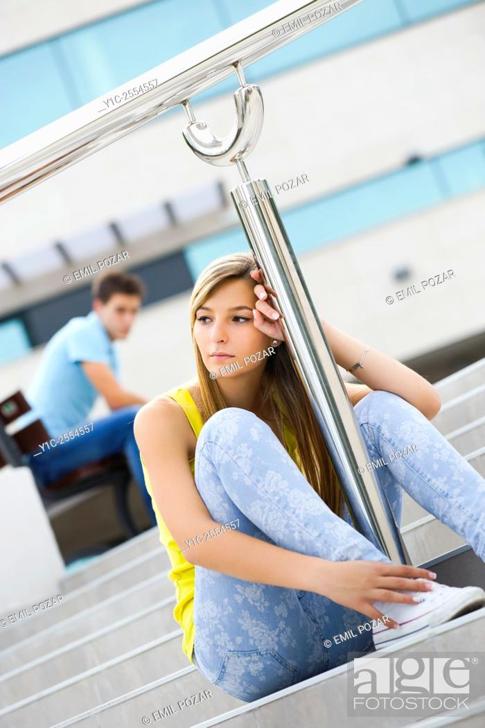 Stock Photo: Stock Photo - Sad end of relationship teen girl and boy.