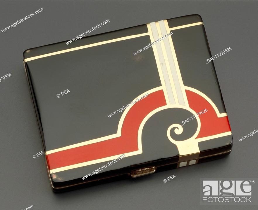 Stock Photo: Silversmith's Art, United States of America, 20th century. Embossed silver Tiffany cigarette case with gold borders, 1930's style.  Private Collection.