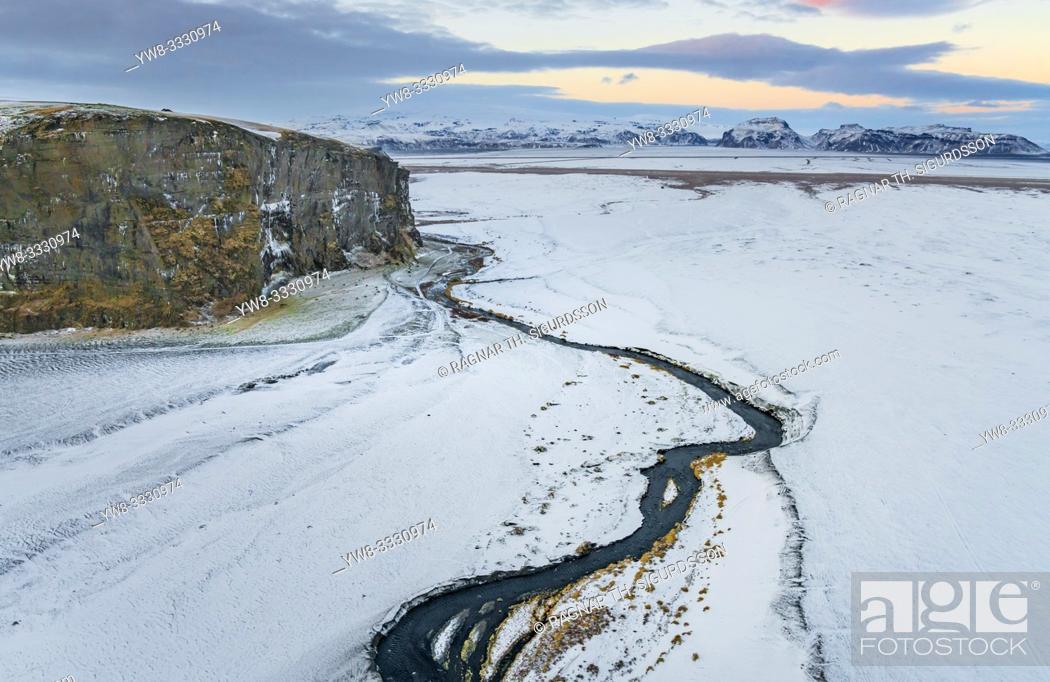 Stock Photo: Landscape, Hjorleifsholfdi, South Coast, Iceland. . The mountain is located on the Myrdalssandur outwash plain near Vik.