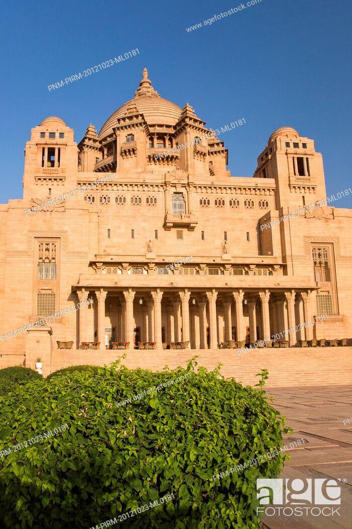 Stock Photo: Facade of a palace, Umaid Bhawan Palace, Jodhpur, Rajasthan, India.