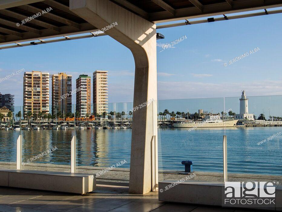 Stock Photo: Muelle Uno seaside promenade port, Malaga city Costa del Sol. Andalusia southern Spain.
