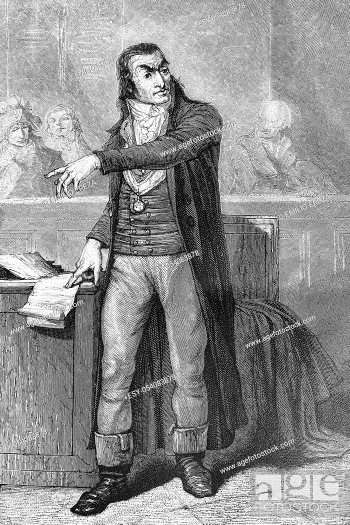 Stock Photo: Antoine Quentin Fouquier-Tinville. Prosecutor during the reign of terror. French revolution. Born 1746, died 1795. Antique illustration, 1890.