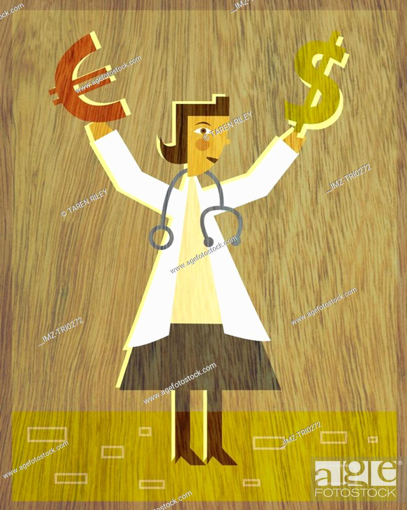 Stock Photo: A physician holding a Dollar sign in one hand and a Euro sign in the other.