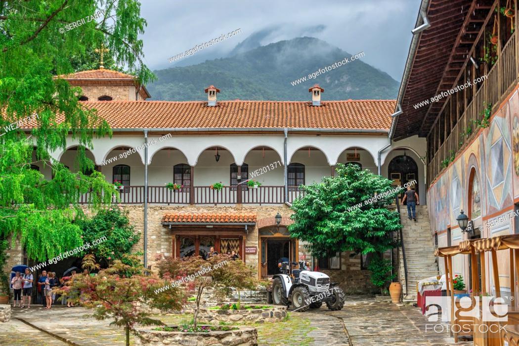 Stock Photo: Asenovgrad, Bulgaria 24. 07. 2019. Bachkovo Monastery of the Dormition of the Theotokos or Assumption of holy virgin in southern Bulgaria.