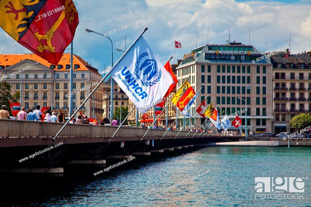 Stock Photo: Flags flying on the Pont du Mont Blanc in Geneva, Switzerland.