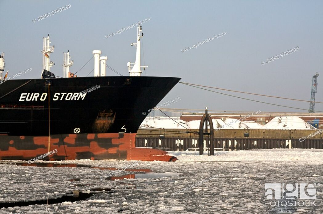 Stock Photo: Ship waiting of cargo, Hamburg, Germany.