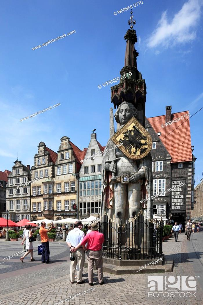 Stock Photo: Germany, Bremen, Weser, Freie Hansestadt Bremen, market place, residential buildings, Roland statue, UNESCO World Heritage Site.