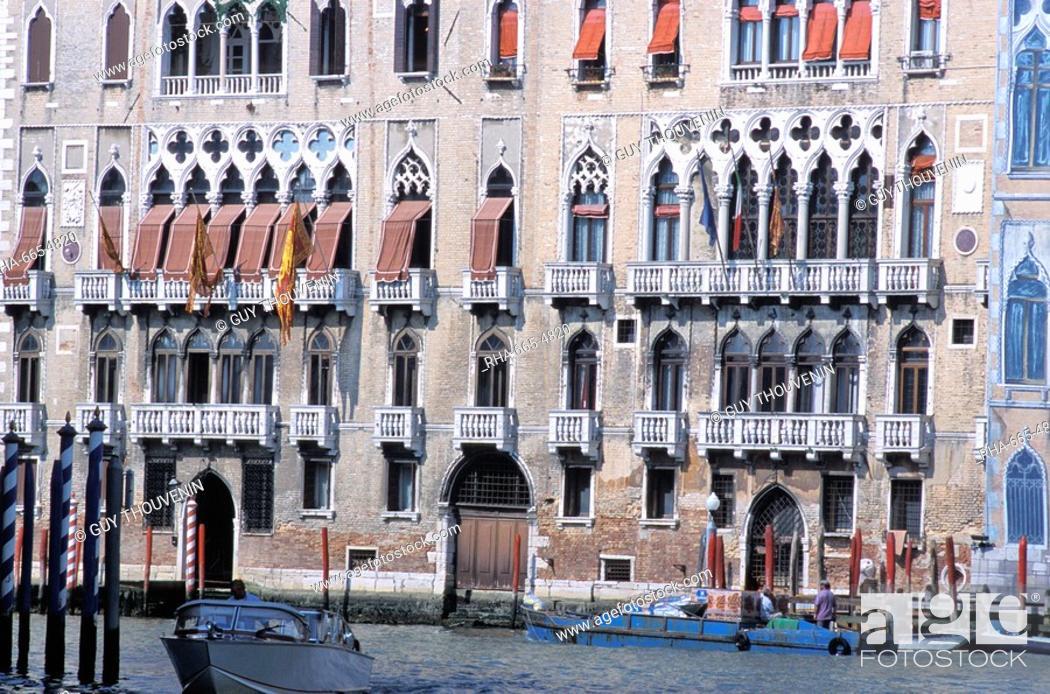 Stock Photo: Palaces along the Grand Canal, Venice, Veneto, Italy, Europe.