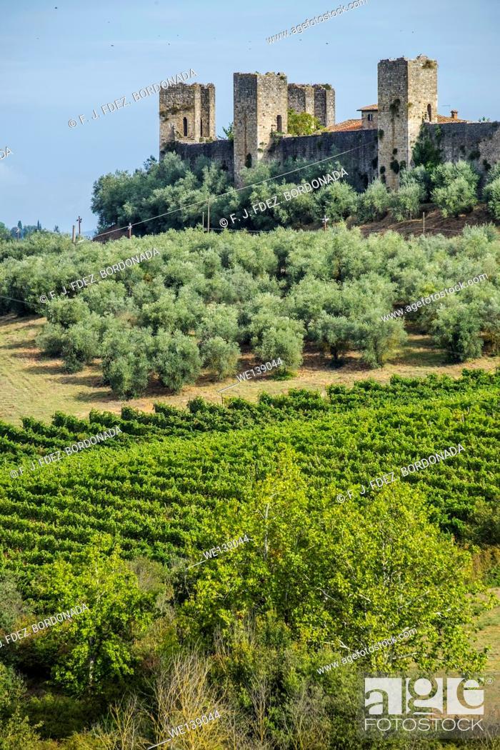 Stock Photo: Monteriggioni fortress walls. Tuscany, Italy.