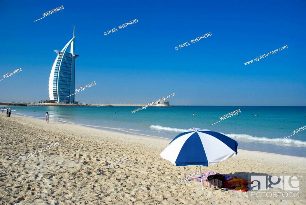 Stock Photo: Middle East, UAE (United Arab Emirates), Dubai Burj al Arab beach.