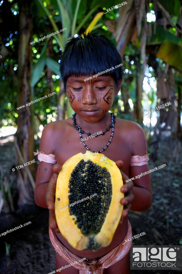 Xingu Indians In The Amazon Brazil Stock Photo Picture And Rights
