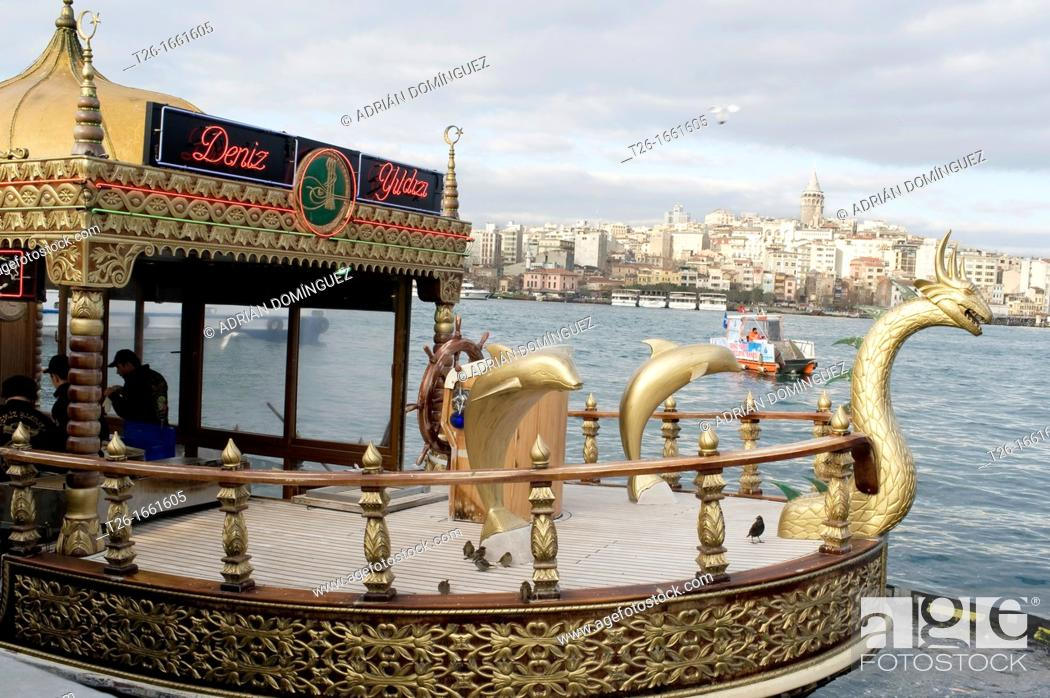 Stock Photo: Detail of a ship in Bosforo river. City of Istanbul, Turkey.