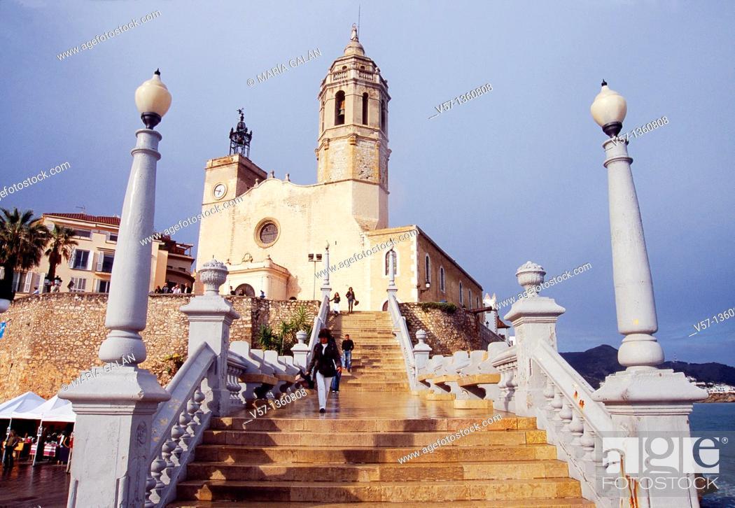 Stock Photo: Sant Bartomeu i Santa Tecla church and staircase. Sitges, Barcelona province, Catalonia, Spain.