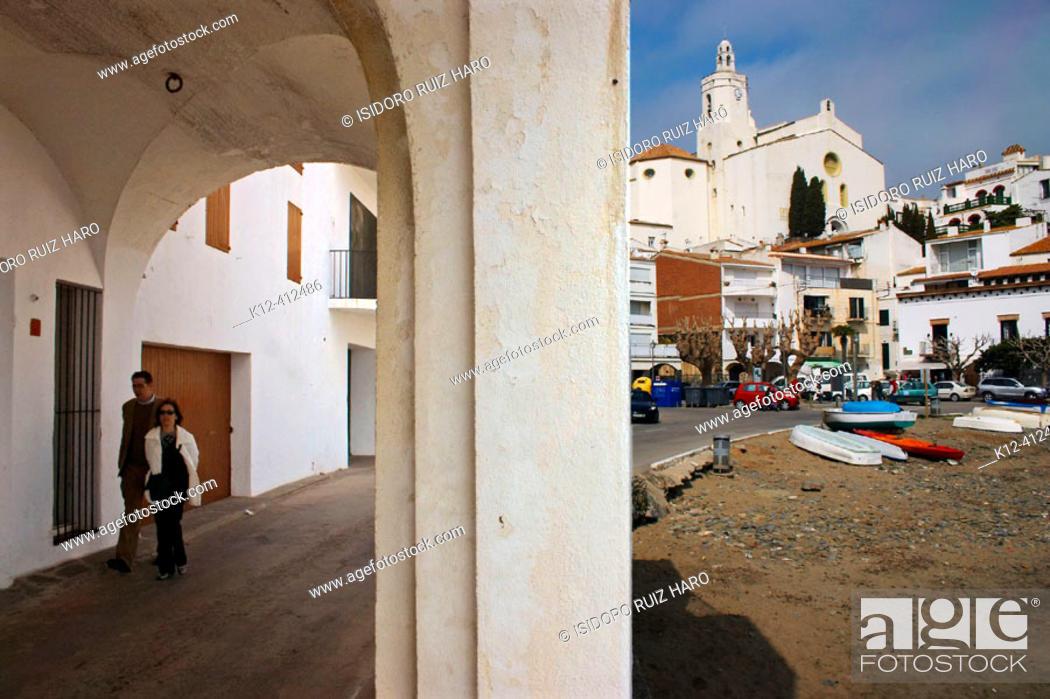 Stock Photo: Church view from Pitxot Riba. Cadaqués. Rough Coast. Alt Empordà Region. Girona Province. Catalonia. Spain.