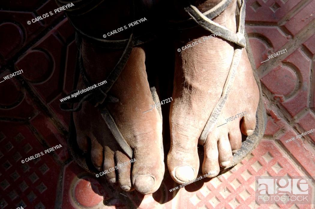 Stock Photo: Feet detail. Tarahumara tribe, Chihuahua. Mexico.