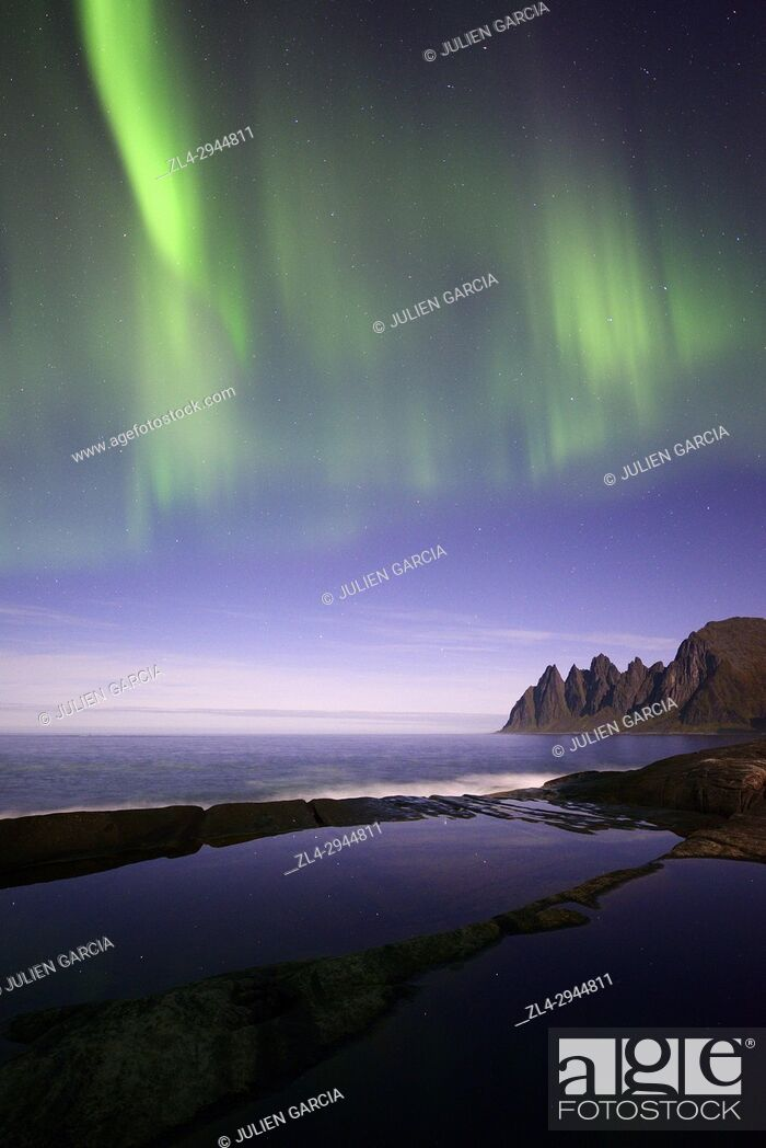 Stock Photo: Norway, Troms County, north of the Arctic Circle, Senja island between Tromso and the Lofoten islands, Tungeneset coastline, Devil's Teeth.