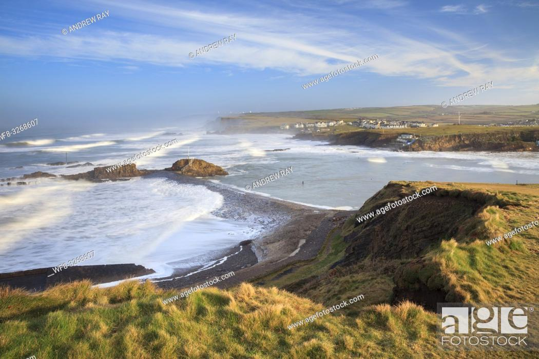 Stock Photo: The breakwater at Bude, on the north coast of Cornwall, captured from cliffs on the South West Coast Path.